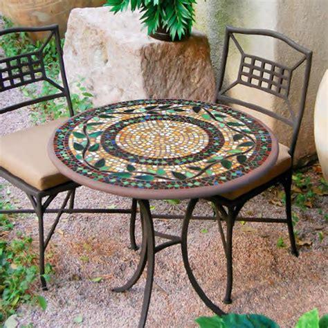 """KNF Garden Designs 30"""" Iron Mosaic Bistro Set for 2   30Set2"""