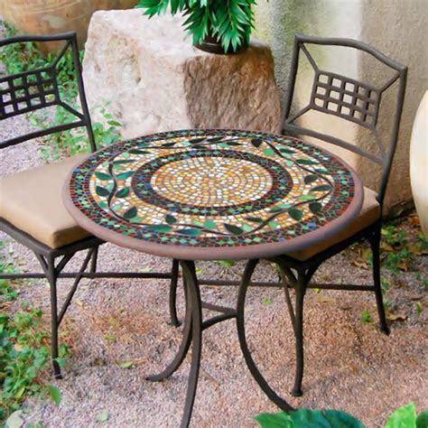 Knf garden designs 30 quot iron mosaic bistro set for 2 30set2