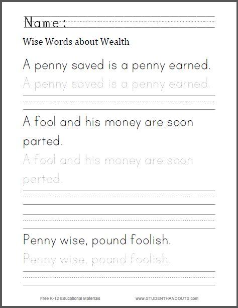 printable writing worksheets pdf wise words about wealth print manuscript handwriting