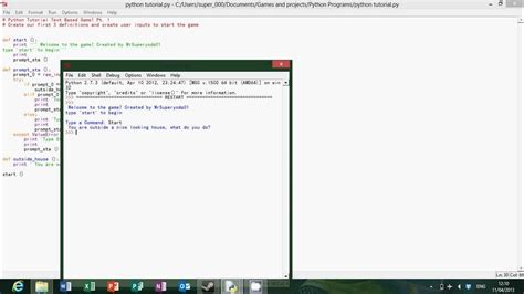 tutorial python text adventure python tutorial text based game part 1 youtube