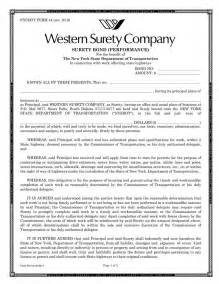 Performance Bond Template by Surety Bond Template Bill Of Sale Form New York Templates