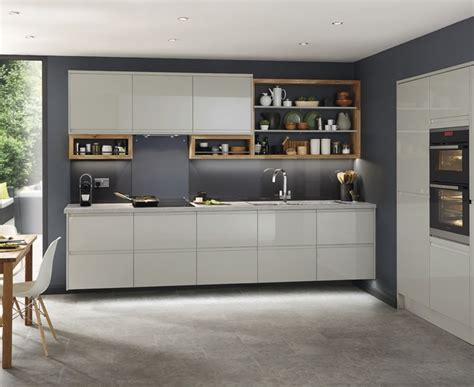 Clerkenwell gloss grey kitchen contemporary kitchens howdens joinery