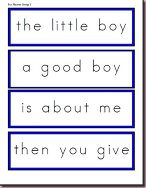 fry instant phrases printable flash cards oceans of first grade fun fry phrases