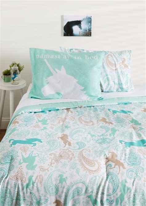 unicorn bedding twin 5pc complete bed in a bag comforter bedding set unicorn kid girl teen green twin ebay