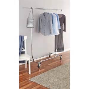mainstays deluxe garment rack with wheels chrome walmart