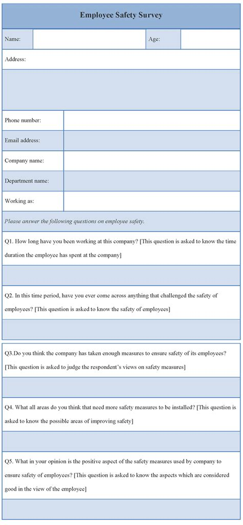 Safety Survey Template survey template for employee safety template of employee safety survey sle templates