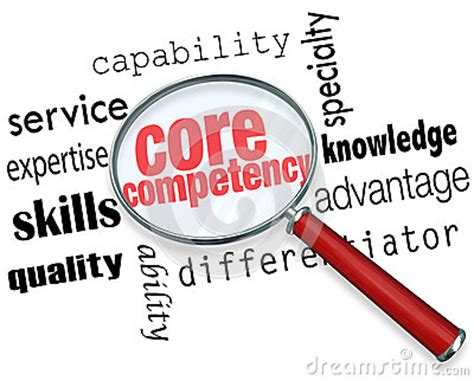 Search For Information Competency Magnifying Glass Words Find Competitve Advantage Stock Illustration