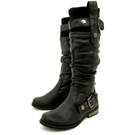 ladies black leather biker boots womens black biker leather style flat wide calf boots