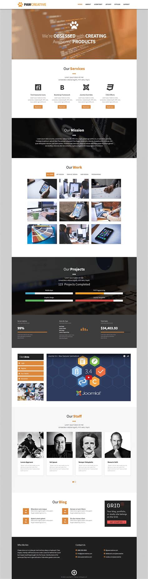 brochure joomla template for business and service providers