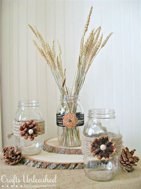 pine cone crafts pine cone flower embellished jars