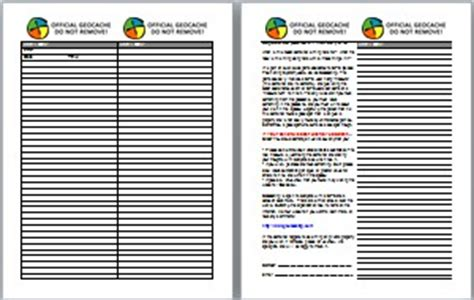 printable log book for geocaching free printable log sheets stash notes and more ground zero