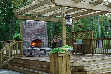 Wood Patios Designs Custom Wood Deck Outdoors Fireplace
