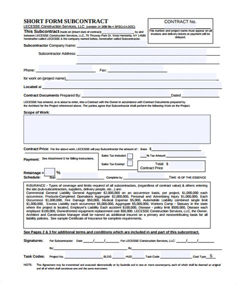 subcontractor bid form template subcontractor contract template 10 documents