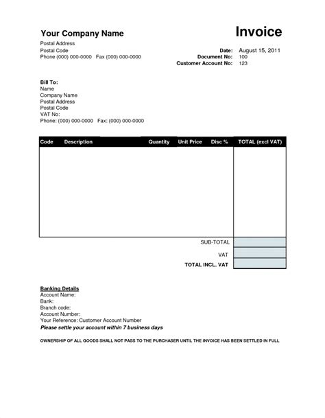 Tax Invoice Template Word Doc Microsoft Office Templates
