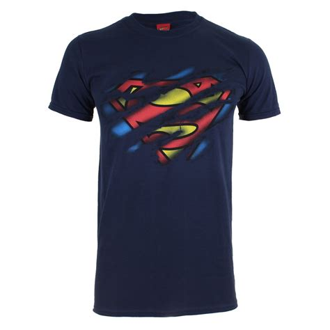 Tshirts Dc 1 dc comics s superman torn logo t shirt navy ebay