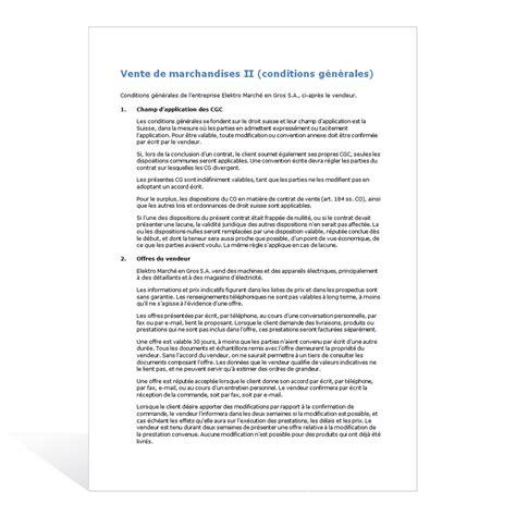 Modele De Condition Generale De Vente Gratuit mod 232 le conditions g 233 n 233 rales de vente ii weka ch