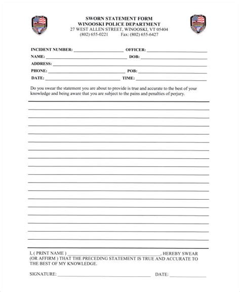 sle witness statement 16890 printable statement form financial statement form