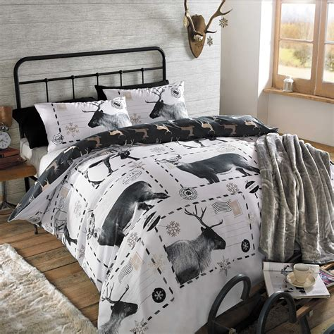 christmas bedding christmas quilt duvet cover with pillowcase bedding set xmas tree stag ski santa ebay