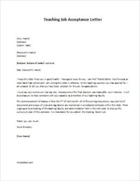 Acceptance Letter For A Teaching Sle Acceptance Letter For Teaching Cover Letter Templates