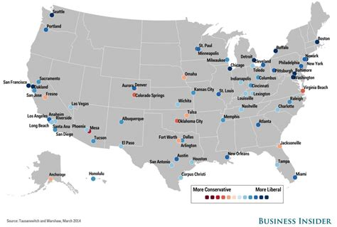 us map of big cities city political spectrum map business insider