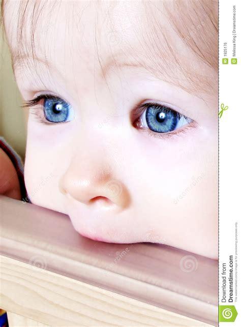 baby biting on crib closeup royalty free stock image
