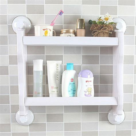 suction shelf bathroom plastic wall mounted suction cup storage rack traceless