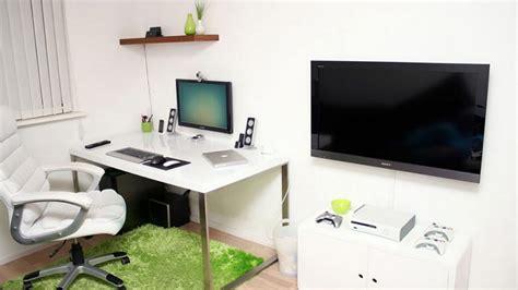 minimalist floating desk setup in white for designer modern minimalist workspace designed for work and gaming