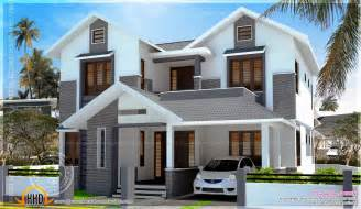home design for 2200 sq ft 2200 sq feet modern sloping roof house with cost kerala