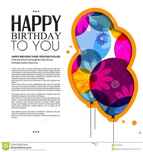 Free Texting Birthday Cards Vector Birthday Card With Color Balloons Flowers Stock