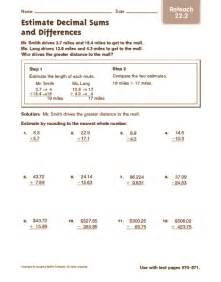 estimating decimals worksheets 6th grade estimating