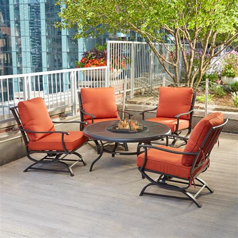 hton bay redwood valley 5 piece patio fire pit seating