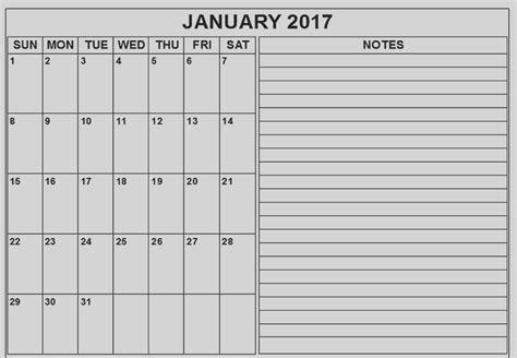 Printable Calendar 2017 With Notes | printable 2017 calendar printable for free download