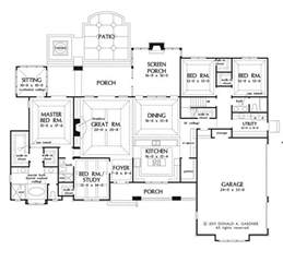 One Story House Plans With Porches Large One Story House Plan Big Kitchen With Walk In