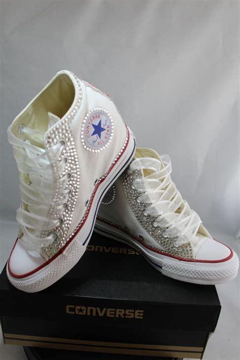 braut converse wedge full bling wedding converse bridal sneakers custom