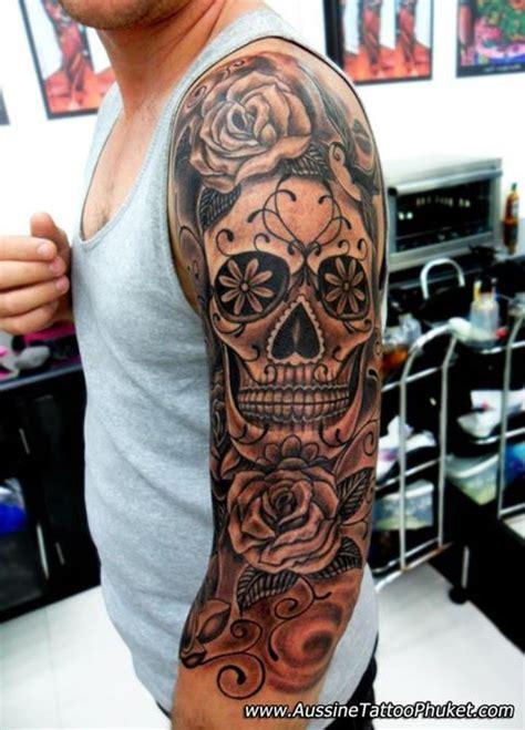 half skull half rose tattoo 10 black and grey dia de los muertos tattoos on half sleeve