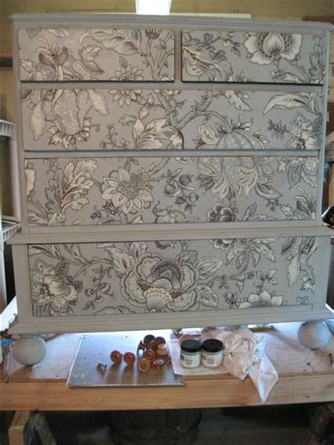decoupage fabric on wood furniture decoupage fabric on a dresser finished with grey