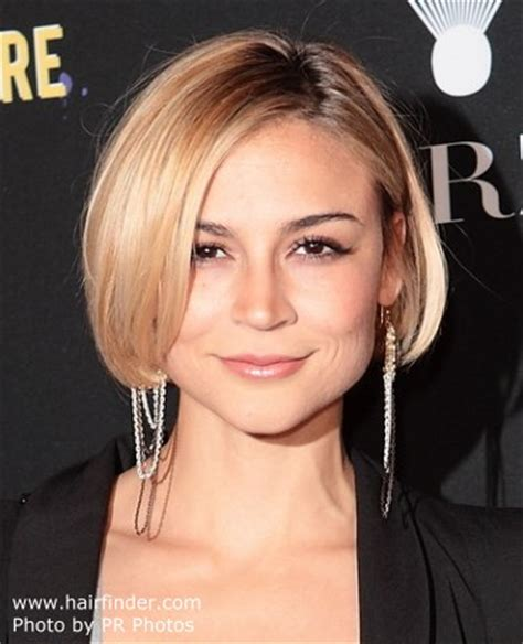 samaire armstrong short hair samaire armstrong s short rounded bob with the part on the
