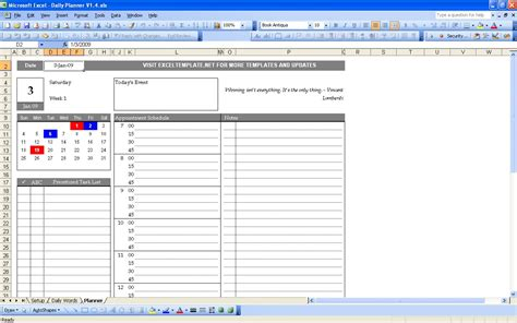 Daily Planner Template In Excel | daily planner excel templates