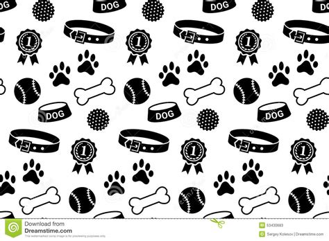 puppies and stuff seamless pattern with s stuff stock vector illustration of kennel symbol 53430683
