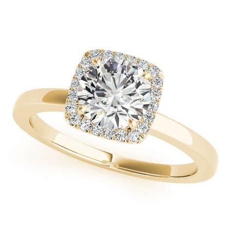 square solitaire halo engagement ring 14k yellow