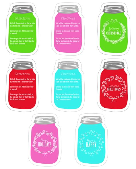 printable gift jar tags mason jar gift diy simmering pot diy candle diy with
