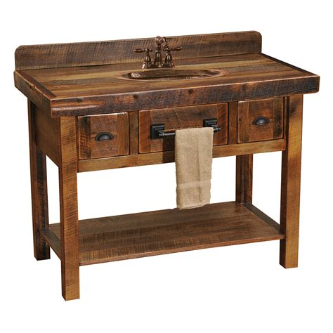 Bar Vanity Barnwood Open Vanity With 2 Drawers And Towel Bar