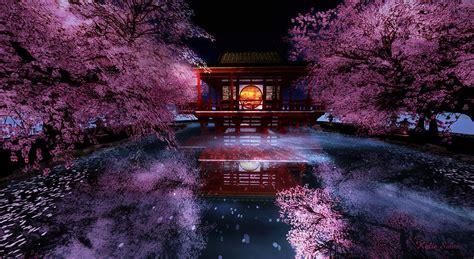 cherry blossom tea house digital art by kylie sabra