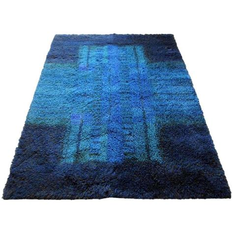 scandanavian rug blue scandinavian rya rug by ritva puotila 1960s for sale at 1stdibs
