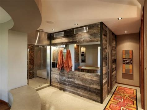 reclaimed bathrooms creating a natural feel with wood in contemporary bathrooms