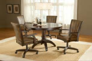 Hillsdale grand bay 5 piece round dining room set w caster chairs