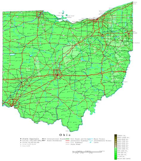 ohio on a map of the united states large detailed elevation map of ohio state with roads