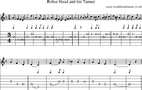 theme music robin hood guitar tab and sheet music for robin hood and the tanner