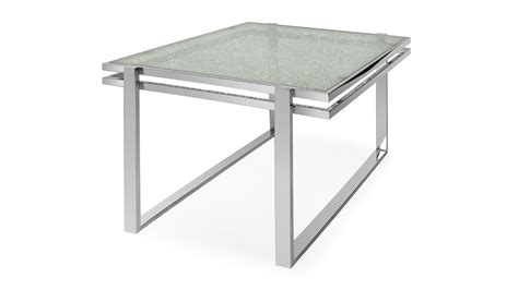 Cracked Glass Table by Mosaic Dining Table Cracked Glass Top Stainless Steel Bas