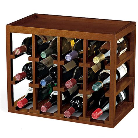 wine enthusiast 12 bottle cube stacked hardwood wine rack